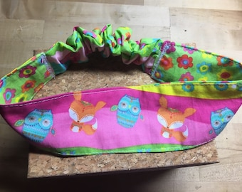 Fabric Headband with foxes and owls