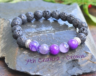 "Crown Chakra Bracelet, 7th Chakra Gemstone Amethyst Chakra Balance Bracelet, Lava Oil Diffuser Bracelet, ...............  ""I am at Peace""..."