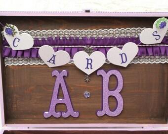 Wedding Wood Heart Card Box Banner,Plum Wood Heart Banner, Wood Banner, Card Box Banner, Wedding Card Box Banner