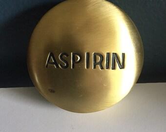 Brass Paperweight | Brass Aspirin Paperweight | Vintage Desk Decor