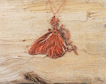 Electroformed Real Butterfly on Flowers Copper Necklace F25