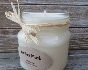 Amber Musk // All Natural // Hand Poured // Scented Soy Candle
