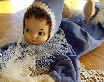 Vintage Pixie Doll, Bendable Arms and Legs, Velvet Outfit, Bedroom Decroation