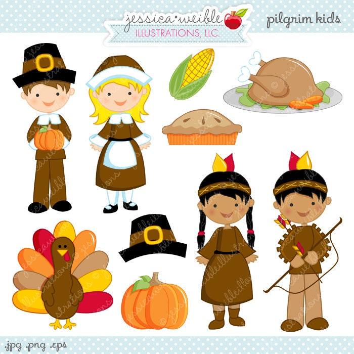 pilgrim kids cute digital clipart commercial use ok rh etsy com thanksgiving indian clipart Thanksgiving Clip Art