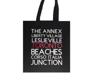Custom Tote Bags, Toronto Tote, City Tote Bag, City Bag, Typography tote, Toronto Neighbourhoods