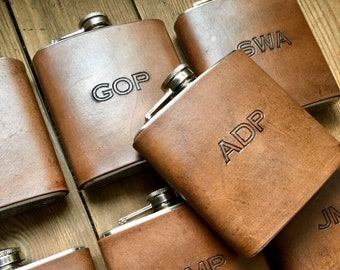 Personalized Flask, Monogram Flask, Wedding Leather Flask, Custom Personalized Wedding Party Gift, Gift For Him, Custom Fathers Day Gift