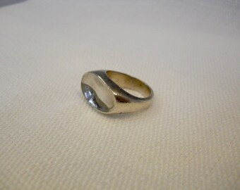 Vintage 1990s 90s Sterling Silver Ring Asymmetrical Ring Artistic Jewelry Minimalist Jewelry Minimalist Ring Nineties Ring Size 5.5