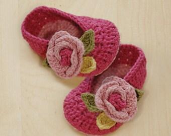 Crochet Baby Pattern - Secret Garden Ballerina Preemie Newborn Booties Rose Slippers Socks Shoes & Flower Applique (SGB01-P-PAT)