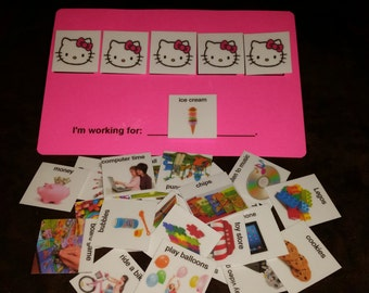 Token economy system w/ real images pic card 4 children w/ Aspergers, autism, Aprexia: helps increase positive behavior & structured ed.