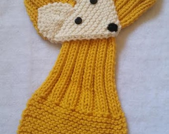 Adjustable Fox Scarf For KIDS or Adult Hand Knit Scarf / neck warmer Mustard /  Sunflower