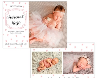 Birth Announcement Photoshop Template--Instant Download n102