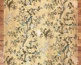 Vintage Beautiful 1930's French Tropical Cotton Bird Print (2034)