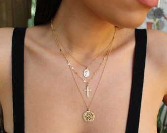 Layered Necklaces, layer charm necklace, Medallion Necklace, Cross Charm Necklace, Layering Cross Pendent Necklace