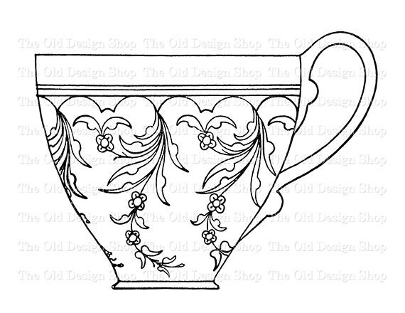 Tea Cup Printable Embroidery Design Vintage Clip Art Digital