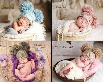 Pom Pom Hat, Baby Girl Pom Pom Hat, Infant Prop, Baby Double Pom Pom Beanie, Crochet Baby Hat Photo Prop Gift Costume Gift