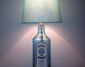 Bombay Sapphire Gin 70cl Upcycled Spirit Bottle E14 or LED lamp - Valentine's, Birthday, Anniversary, Celebration or Man Cave Gift