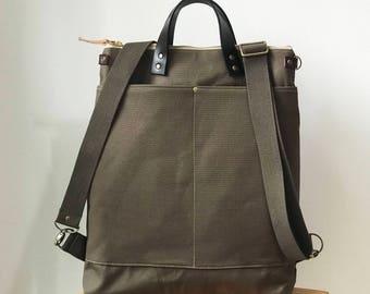 Waterproof-2way tote bag backpack bag with canvas strap/travel bag /diaper bag /Laptop bags/shoulder bag /Handbag/unisex bag /luggage bag