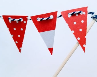Whimsical Cake Bunting- Independence Day, 4th of July, patriotic, nautical, red, white & blue party, summer BBQ, ocean, beach boating yacht
