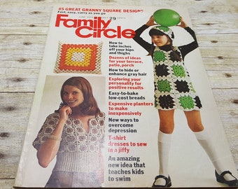 Family Circle, June 1974, Vintage Magazine, granny square issue