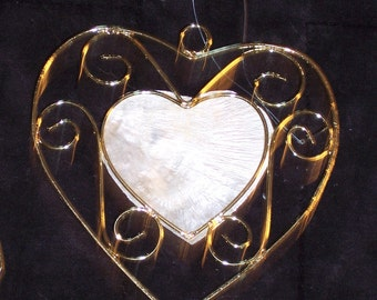 Wire & shell heart shaped craft piece,embellishment,Mother's Day,accent,ornament