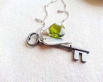 Skeleton Key Necklace, Green Jewel Necklace, Long Necklace, Minimalist Necklace, Heart Necklace