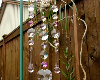 Filigree Pink Crystal Prism Suncatcher, 3S-9