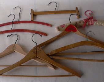 vintage coat hangers, suit hangers, unusual styles, painted, group of 8, from Diz Has Neat Stuff