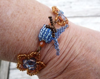 CIEL et MIEL Handmade French beaded bracelet Swallows & flowers