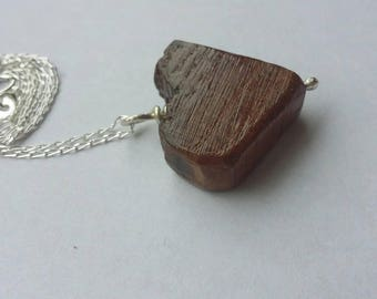 """Natural Pontfadog Oak Burr Wood Heart  Pendant / Necklace- Threaded with 925 Silver & 18""""Chain."""