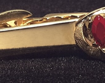 Gold Tone with Red Stone Tie Clip