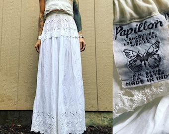 XS/S/M 70s India cotton skirt eyelet prairie petticoat lace 1970s thin lightweight XS S M extra small to medium free size high waist waisted
