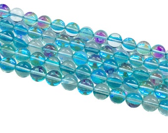 1Full Strand Blue Mystic Aura Quartz Round Beads, 8mm 10mm Aura Quartz,Holographic Quartz For Jewelry Making