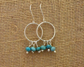 Turquoise and Sterling Silver Hoops