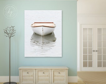 Large Vertical Wall Art, Boat Photography Canvas Print, Cape Cod Rowboat Photo, Coastal Nautical Beach Decor, Dory Skiff Picture, Ivory Grey