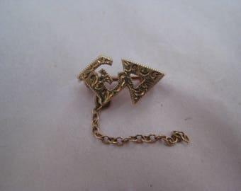 Epsilon Delta 10K Solid Yellow Gold Pin Lapel Brooch Sorority Fraternal Vintage Karat KT Engraved