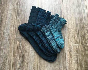 Family Sock Set / united design sock set / Family Gift for Christmas / Blue Sock Set / Outdoor