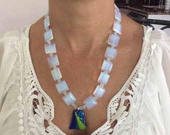 Moonstone beaded necklace with blue/green pendant