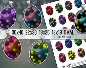 Bokeh  30x40 22x30 18x25 13x18  Oval Digital Collage Sheet for Glass and Resin Pendants Magnets Paper Craft
