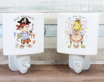 Children's Plug In Night Light Choice of 2 designs Pirate Princess