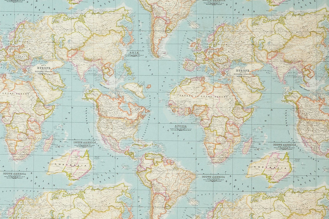 Blue worldmap fabric cotton polyester map pattern world globe 1100 gumiabroncs Image collections