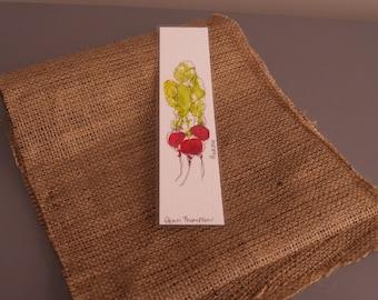 Unique watercolour - Radishes - Bookmark
