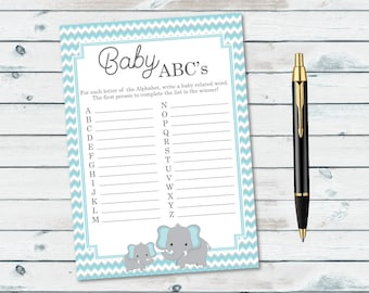 Elephant Baby ABCs Game, Baby Shower Alphabet Game Printable, Everything Baby A To Z, Blue Elephant Items A to Z Game