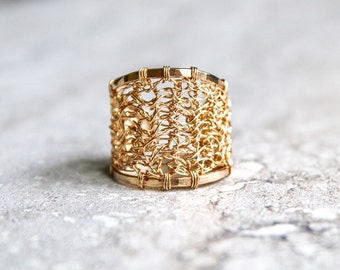 Gold filled crocheted ring