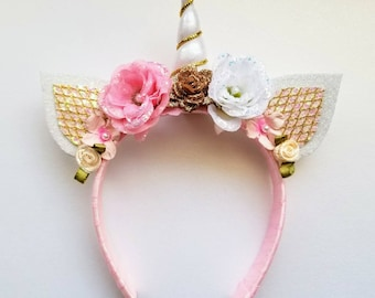 Pink and Gold Unicorn headband with glittered roses.  Sized to fit an 18 inch doll.