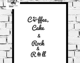 Coffee Print | Coffee Printable | Coffee Download | Printable Art | Printable Wall Art | Printable Quote | Rock n Roll Prints | Cake Print