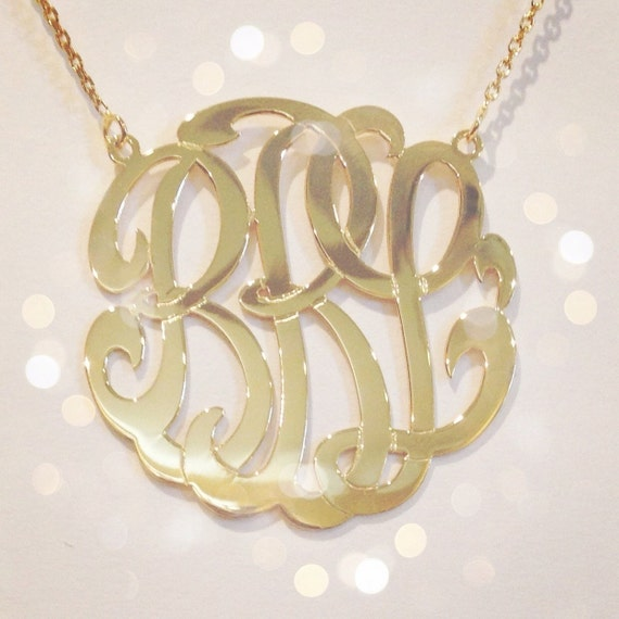 14k gold monogram necklace medium 125 inch 14kt yellow like this item mozeypictures Choice Image
