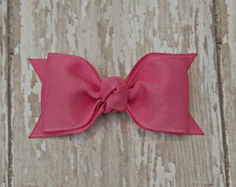 Hot Pink Tuxedo Style Toddler Hair Bow 3 Inch Alligator Clip Baby Hairbow