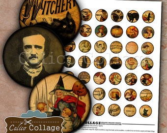 Vintage Halloween Digital Collage Sheet 1 inch Bottlecap Images, Printable Graphics, Halloween Collage Sheet, DIY Bottle Cap Images