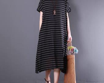 Women sundress linen dress stripe dress, comfortable dress asymmetrical summer dress short sleeve dress vintage dress
