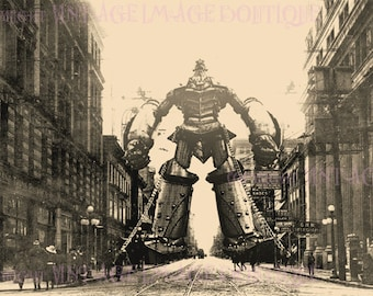 Antique C. 1900 Sepia Photo Of A Giant Robot Captured In A City Street Scene Phantasmagorical  5x7 Greeting Card